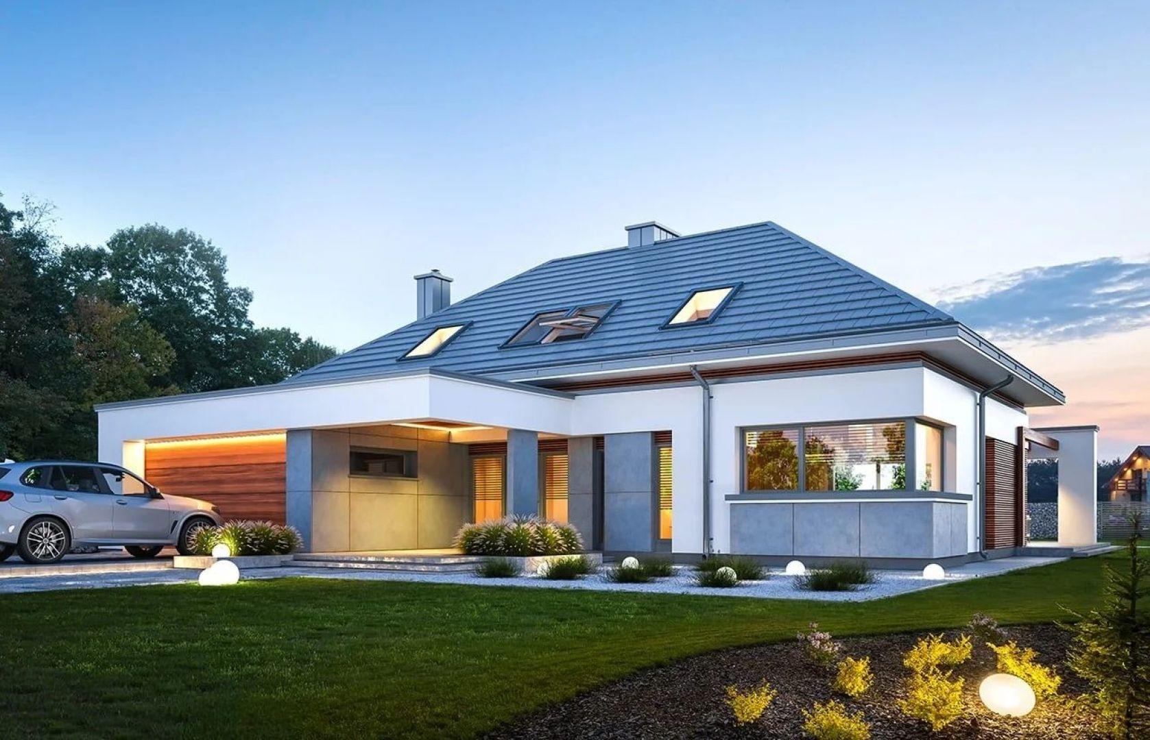 Projekt parterowego domu z poddaszem użytkowym, zwieńczonego wielospadowym dachem. Nazwa projektu: Hiacynt. Projekt wykonano w Pracowni MG Projekt