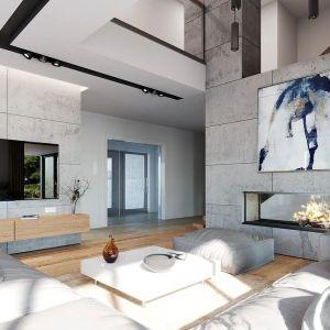 Centralnie ustawione meble wypoczynkowe zorientowane są na ścianę telewizyjną oraz na kominek, będący wraz ze schodami ozdobą wnętrza. Nazwa projektu: Hiacynt. Projekt wykonano w Pracowni MG Projekt