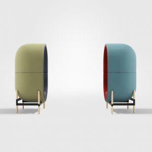 Kapsuła została zaprojektowana do małych wnętrz. Capsule - projekt mebla inspirowany kokonem. Projektant: Kateryna Sokolova. Marka i fot. Casala