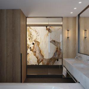 Łazienka przy sypialni. Projekt wnętrz: JMW Architekci