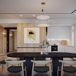 Otwarty salon połączony z jadalnią. Projekt wnętrz: JMW Architekci