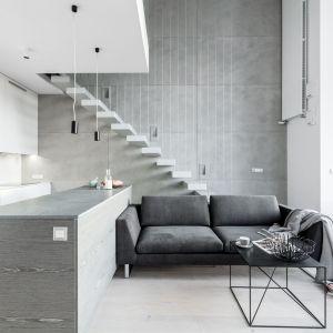 Prosta w formie szara, dwuosobowa kanapa to świetne rozwiązanie do nowoczesnego salonu otwartego na kuchnię  jadalnię. Projekt: Decoroom. Fot. Pion Poziom
