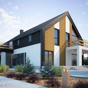 Projekt wyróżnia duża ilość tarasów i balkonów wokoło budynku. Nazwa projektu: Elseida. Projekt wykonano w Pracowni Domy w zieleni