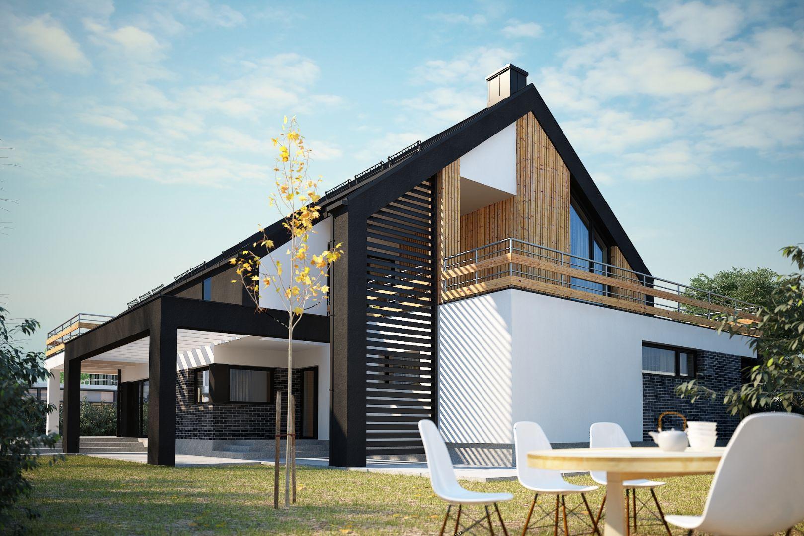 Elseida to nowoczesny dom o powierzchni około 240 m2 liczonej z garażem na dwa stanowiska postojowe. Nazwa projektu: Elseida. Projekt wykonano w Pracowni Domy w zieleni