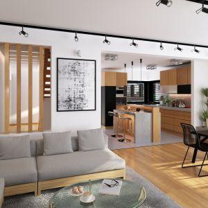Wewnątrz części mieszkalnej ograniczono ilość ścian nośnych (prawie ich nie ma), co daje dużą swobodę w aranżacji wnętrza i ogranicza koszt budowy. Nazwa projektu: Elseida. Projekt wykonano w Pracowni Domy w zieleni