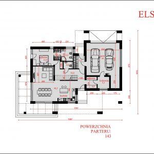 Rozkłada pomieszczeń na parterze. Nazwa projektu: Elseida. Projekt wykonano w Pracowni Domy w zieleni