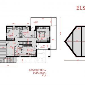 Rozkłada pomieszczeń na poddaszu. Nazwa projektu: Elseida. Projekt wykonano w Pracowni Domy w zieleni