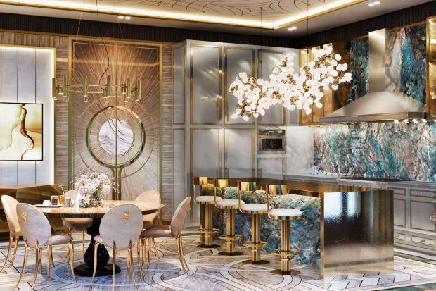 Elegancka kuchnia: piękne luksusowe wnętrze ze złotem w roli głównej