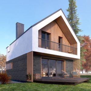 Mały dom o powierzchni użytkowej 70 m2. Autor projektu arch. Tomasz Sobieszuk, pracownia DOMYwStylu.pl