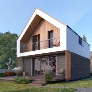 Na parterze zlokalizowano nowoczesną część dzienną, na piętrze - sypialnie i łazienkę. Autor projektu arch. Tomasz Sobieszuk, pracownia DOMYwStylu.pl