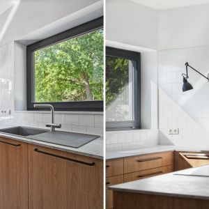 Duże okna w kuchni sprawiają, że wnętrze jest jasne, a otaczający krajobraz Projekt: Łukasz Nowak, Katarzyna Stawarz-Nowak, trabendo. Fot. Justyna Kwiatkowska, Piotr Folkman