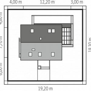 Projekt: Lea, pracownia Archipelag. Szacunkowy koszt budowy: 296 217 zł (stan deweloperski). Widok domu na działce. Fot. Archipelag