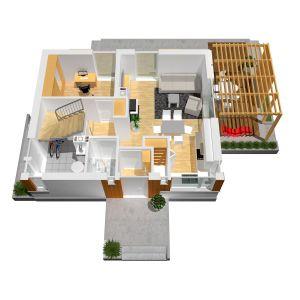 Projekt: Lea, pracownia Archipelag. Szacunkowy koszt budowy: 296 217 zł (stan deweloperski). Plan parteru. Fot. Archipelag
