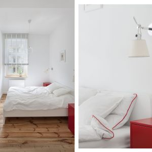 Sypialnia urządzona w bieli jest nowoczesna i bardzo jasna. Projekt: Katarzyna Buczkowska-Grobecka. Fot. www.fotografy.eu