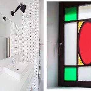 Łazienka jest niewielka, ale bardzo wygodna. Jasna kolorystyka i duże lustro optycznie powiększają przestrzeń. Projekt: Katarzyna Buczkowska-Grobecka. Fot. www.fotografy.eu