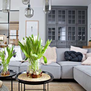 Szara kanapa, stylowa komoda i piękne dodatki z juty. Projekt wnętrza: SHOKO design