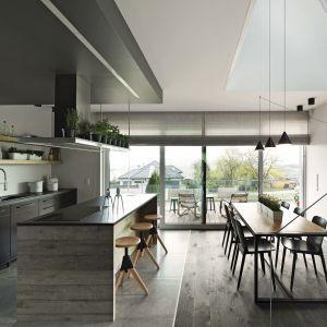 Pomiędzy przestrzenią jadalni i kuchni znajduje się duża wyspa. Projekt wnętrza: Marta Pala-Szczerbak. Fot. Piotr Lipecki