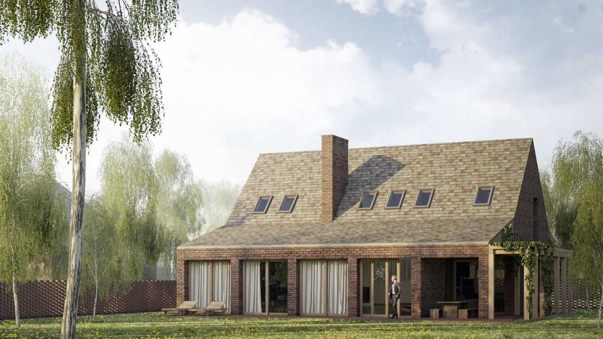 Dom ma kształt uproszczonej stodoły z dobudówką w formie niewielkiej werandy. Projekt: Mateusz Frankowski, Paweł Lipiński, Fryderyk Graniczny, biuro architektoniczne Ggrupa