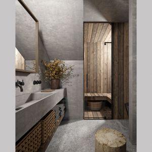 Beton i drewno zastosowano również w łazience. Projekt: Mateusz Frankowski, Paweł Lipiński, Fryderyk Graniczny, biuro architektoniczne Ggrupa