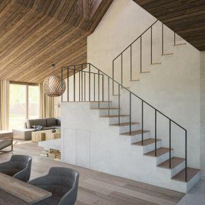 Materiały wykończeniowe zastosowane we wnętrzu to przede wszystkim drewno i beton. Projekt: Mateusz Frankowski, Paweł Lipiński, Fryderyk Graniczny, biuro architektoniczne Ggrupa