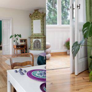 W saloniku ważnym elementem dekoracyjnym jest wysoki, bardzo dekoracyjny piec o charakterystycznym jasno, groszkowym kolorze. Projekt: Marta Kodrzycka, Marta Wróbel. Fot. Magdalena Łojewska