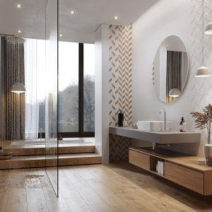Płytki ceramiczne z kolekcji Love You Navy marki Opoczno. Pomysł na świetną łazienkę, w której drewniane elementy łączą się ze stylową jodełką. Fot Opoczno