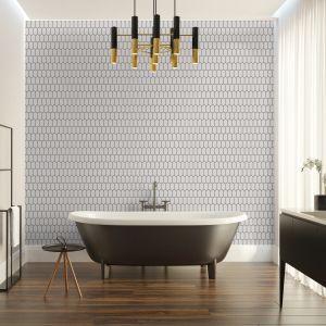 Mozaika ceramiczna Heksalong szary, szkliwiony marki Raw Decor. Taka ściana z płytek to absolutny hit! Fot. Raw Decor