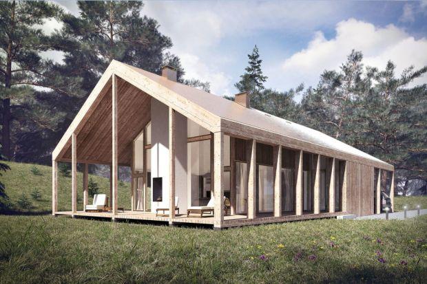 Prosty i energooszczędny projekt domu z fantastyczną drewnianą werandą, która świetnie się sprawdzi nie tylko w otoczeniu lasu. Zobaczcie projekt przygotowany przez architekta Tomasza Głowackiego z Pracowni Architektury Głowacki.