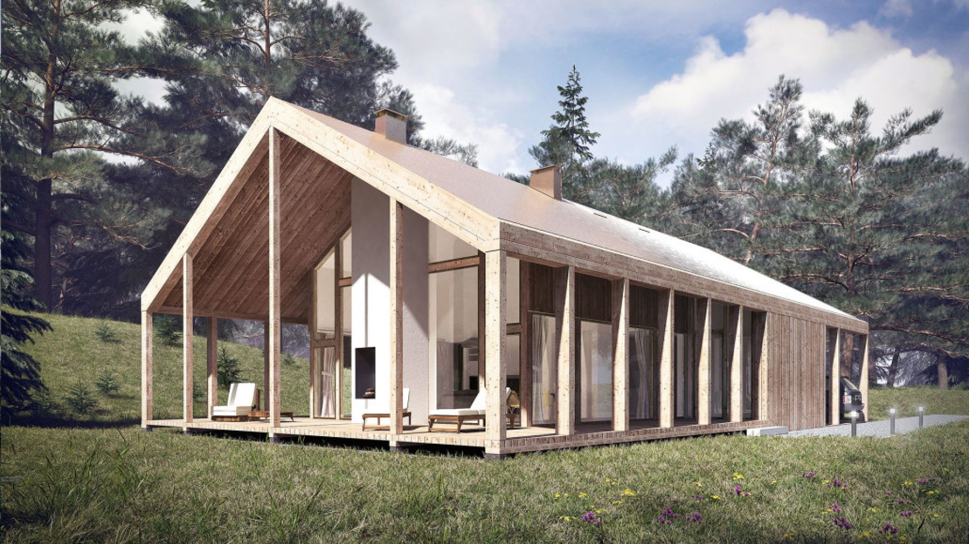 Dom z werandą - nowoczesny projekt domu z pięknym drewnianym zadaszeniem. Projekt: Domy z Głową, Pracownia Architektury Głowacki