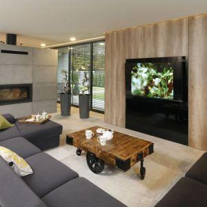 Ścianę z kominkiem oddzielającą salon od jadalni wykończony betonowymi płytami, które doskonale ociepla duża ilość drewna. Projekt: Dariusz Grabowski. Fot. Bartosz Jarosz