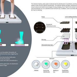 """""""E-Tapis"""" (Hao Wang and Hanyuan Hu, Chiny): Inteligentne urządzenie do czyszczenia obuwia od podeszwy, które używa płynu dezynfekującego oraz promieniowania UV."""