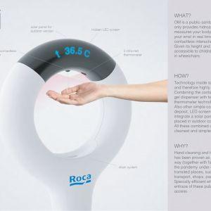 """""""OM"""" (Rafael Vinader, Hiszpania): urządzenie sanitarne z automatycznym dyspenserem żelu do dezynfekcji i jednocześnie termometrem na podczerwień."""