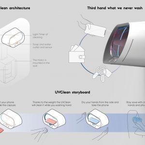 UVClean (Lidia Grifts, Włochy i Ekaterina Epifanova, Rosja): Bateria z promieniowaniem UV, która dezynfekuje urządzenia np. telefon komórkowy podczas gdy w tym samym czasie użytkownik myje ręce.