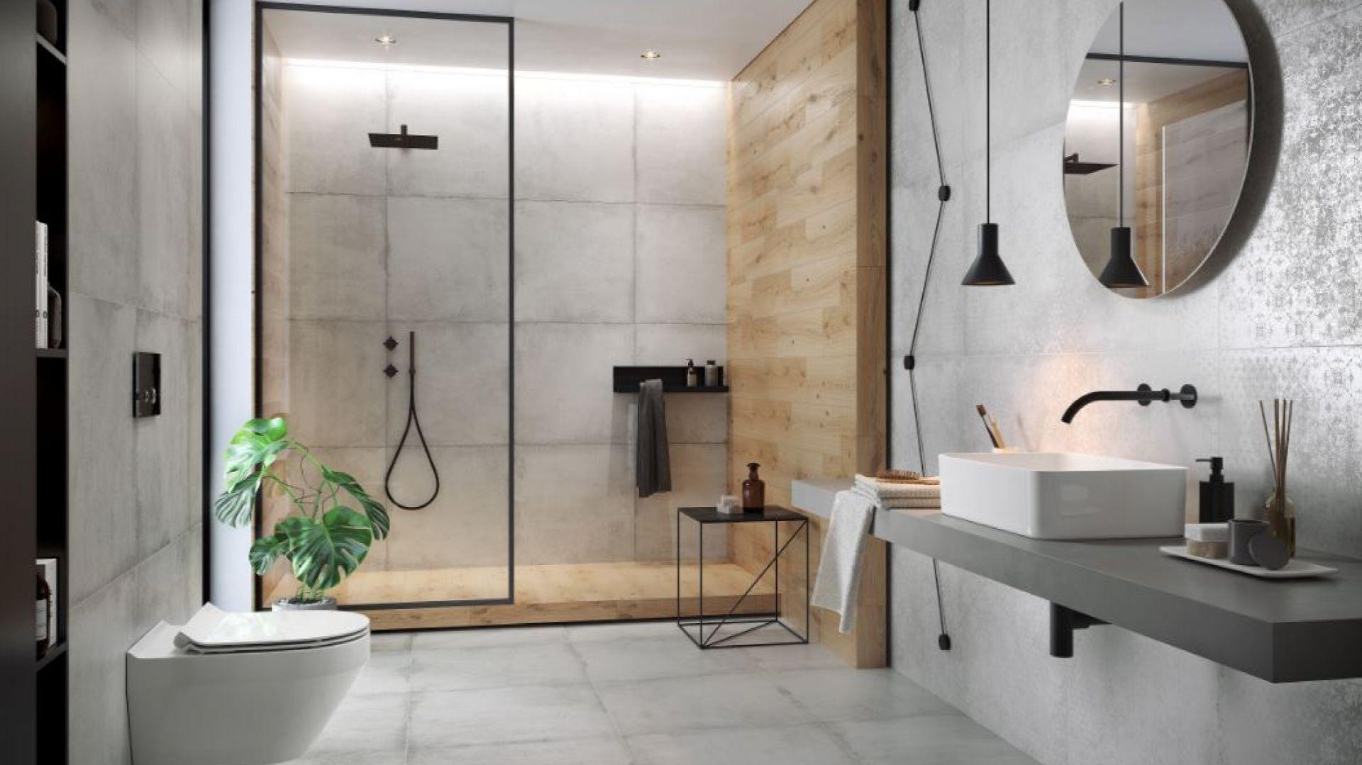 Płytki gresowe z kolekcji Stormy imitujące surowy beton. Dostępne w ofercie firmy Cersanit. Cena: ok. 105 zł/m2 (59,3x59,3 cm). Fot. Cersanit