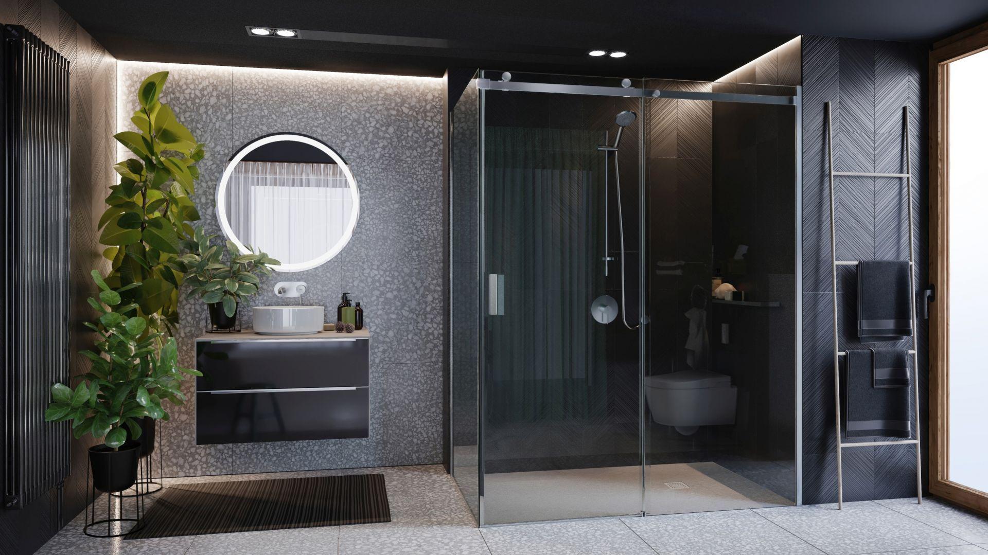 Kabina prysznicowa Area składa się z szyb prysznicowych ze szlachetnego szkła z minimalistycznymi profilami i eleganckimi, metalowymi uchwytami. Dostępna w ofercie firmy Roca. Cena: ok. 1.600 zł. Fot. Roca
