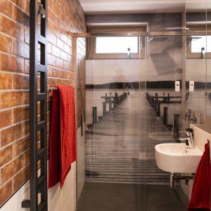 W mniejszej łazience znało się miejsca na prysznic. Ścianą pod prysznicem zdobi grafika zabezpieczona szkłem. Projekt i zdjęcia: Joanna Ochota