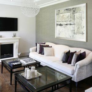 W tym stylowy salonie ściany wykończono farbą. Połączenie bieli i szarości sprawiło, że wnętrze jest przytulne, a jednocześnie eleganckie. Projekt: Alexander James Interiors. Fot. Bartosz Jarosz