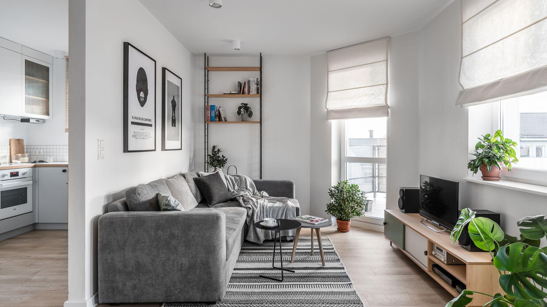 Niewielki salon urządzono w duchu skandynawski. Żywe rośliny wnoszą do wnętrza pozytywna energię. Projekt Raca Architekci. Fot. Fotomohito