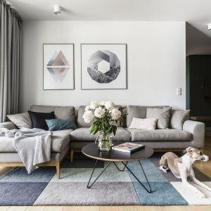 Otwarty salon urządzono w stylu skandynawskim. Dominuje tu biel i szarości. Projekt Raca Architekci. Fot. Fotomohito