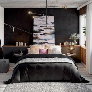 Na ścianie za łóżkiem w sypialni znalazła się patynowana czarna blacha. Projekt: Anna Adamowicz, Damian Machnik, Zakład Usług Projektowo-Architektonicznych