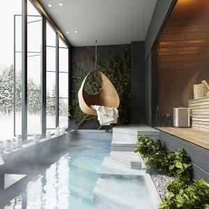Głównym założeniem była zmiana układu i wydzielenie nowej strefy wypoczynkowej, w której zaprojektowano saunę oraz płytki basen. Projekt: Anna Adamowicz, Damian Machnik, Zakład Usług Projektowo-Architektonicznych
