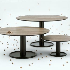 Na rodzinę stolików Oo składa się pięć modeli o zróżnicowanej wysokości i średnicy blatów. Kolekcja Oo, projekt Tomek Rygalik, nowość 2020 dla marki Nobonobo. Fot. Nobonobo
