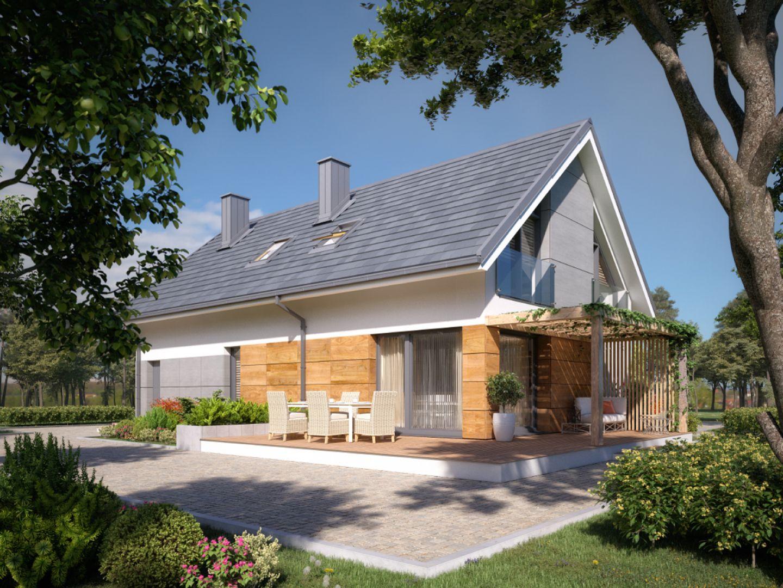 Dom Daktyl o powierzchni użytkowej 141 m2. Projekt: arch. Tomasz Sobieszuk, pracownia DOMYwStylu.pl