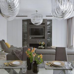 W nowocześnie urządzonym salonie biel stała się tłem do wyeksponowania naturalnych materiałów. Projekt Apartment w Centrum. Fot. Yassen Hristov Hompics