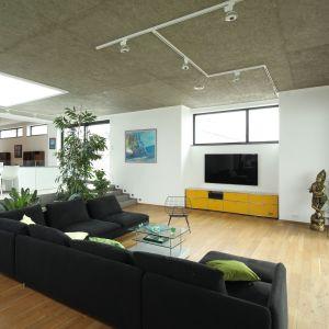 Nowoczesny salon, w który zastosowano beton na suficie, drewno na podłodze. Całość dopełniają proste w formie meble oraz zieleń. Projekt: Konrad Grodziński. Fot. Bartosz Jarosz