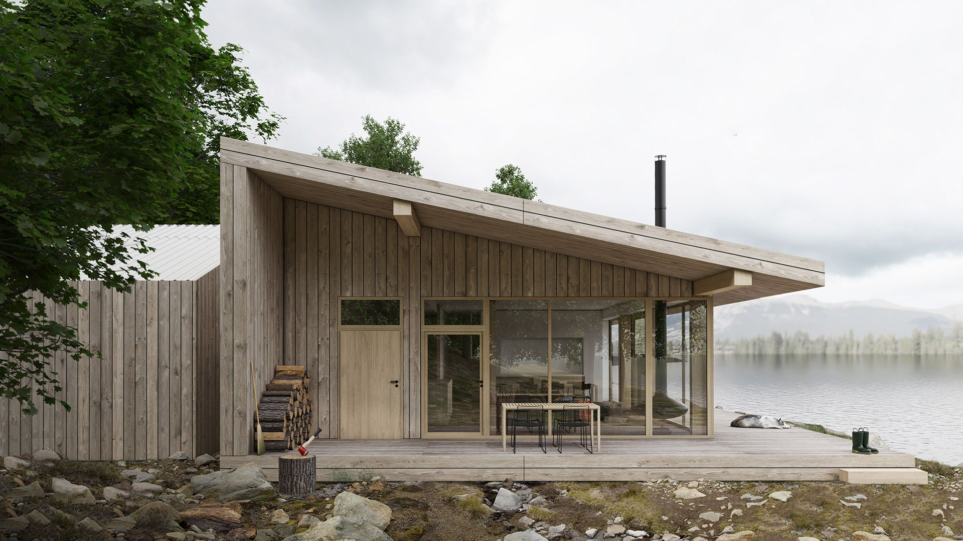 Dom został zaprojektowany jako drewniany szkieletowy w technologii skandynawskiej. Projekt: Mateusz Frankowski, Paweł Lipiński, Fryderyk Graniczny, biuro architektoniczne Ggrupa