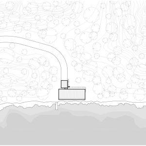Usytuowanie na działce. Projekt: Mateusz Frankowski, Paweł Lipiński, Fryderyk Graniczny, biuro architektoniczne Ggrupa