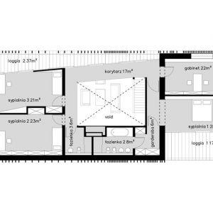 Rzut piętra. Projekt: Dom za Żaluzjami, seria Domy z Głową, Pracownia Architektury Głowacki