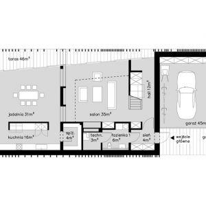 Rzut parteru. Projekt: Dom za Żaluzjami, seria Domy z Głową, Pracownia Architektury Głowacki