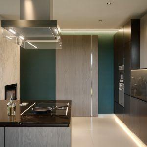 Obok kuchni mieści się funkcjonalna spiżarnia. Nazwa projektu: HomeKONCEPT 62. Projekt wykonano w Pracowni HomeKONCEPT